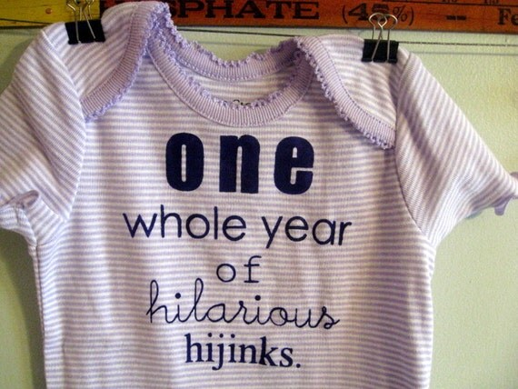 one whole year of hilarious hijinks --- purple striped onesie, size 12 months
