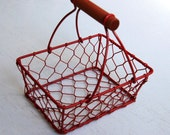 Red Rectangular Wire Basket