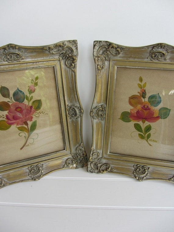 RESERVED Two Beautiful Vintage Floral Paintings