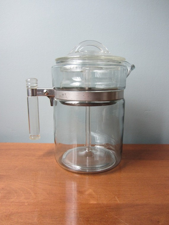 Pyrex percolator glass stove top 4 cup coffee by tintedvintage for Best coffee percolator
