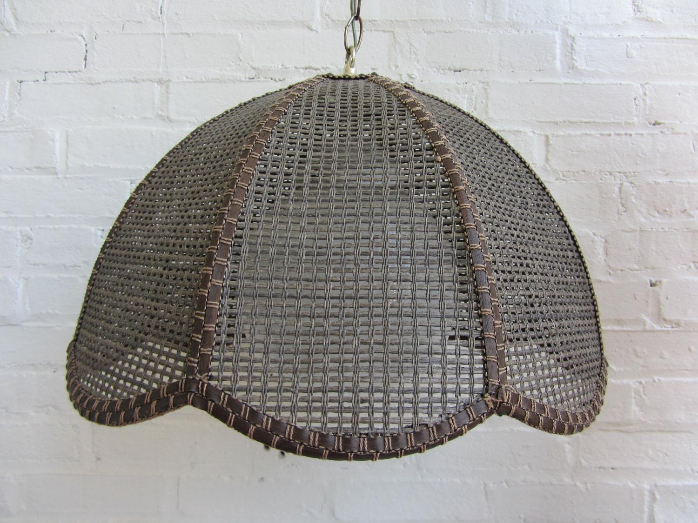 Hanging Swag Lamp Rattan Wicker Boho Style With Globe Light