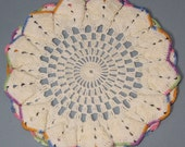 Vintage Crocheted Doily Ruffled Fluted Natural Color with an Edging of Varigated Thread