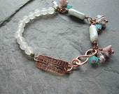 Etched Copper Music Note and Glass Bead Bracelet - ForMySweetDaughter