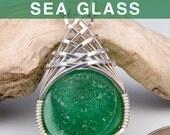 Green Sea Glass Marble Pendant, Beach Glass Jewelry