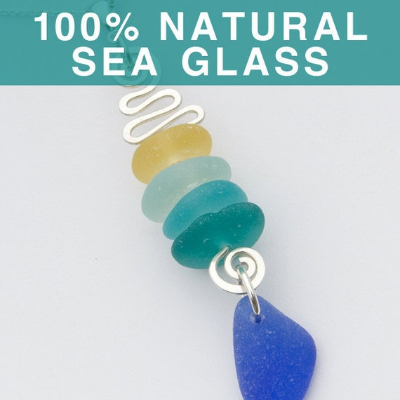 Stacked Sea Glass Pendant, Beach Glass Jewelry