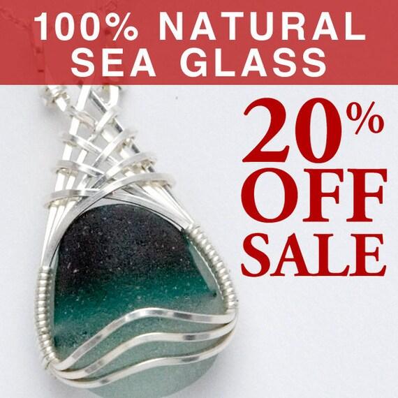 Green English Sea Glass Pendant, Beach Glass Jewelry