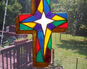 Stain Glass Cross made from recycled plastic drink bottle