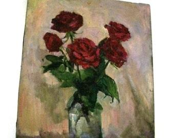 Vintage Rose Painting  - Russian/Kyrgyz