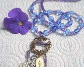 Vintage Virgin Mary Necklace in Purple and Blue