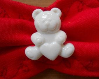 Red Teddy Bear Love Soft Fabric Cuff Bracelet