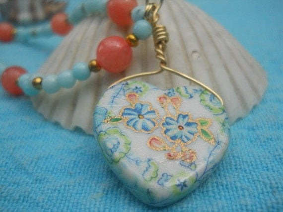 Reserved for Shireen....Vintage Flower Heart Necklace with earrings and adjustments