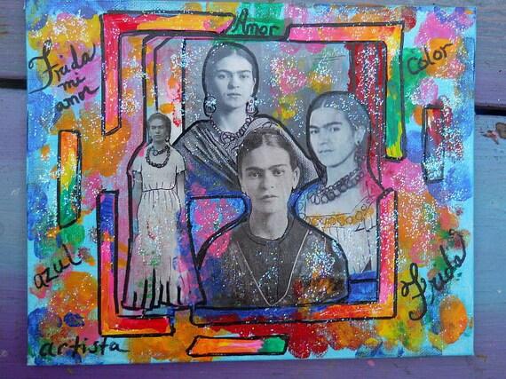 Frida Mi Amor Original Mixed Media Collage Painting