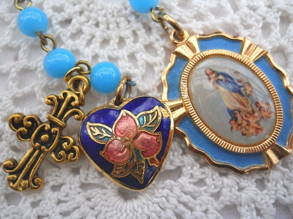 Vintage Virgin Mary Assumption 2 Decade Chaplet Rosary with Cloisonne Vintage Heart  Free Shipping US and Canada