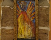 Jesus Painting on wood Rustic Frame Contemporary Folk art by Holly Hinkle