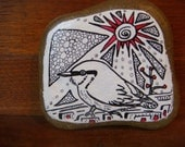 Nuthatch Bird Original illustration on River Rock Paperweight Art by Holly Hinkle