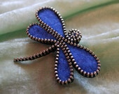 Zipper/Recycled Felted Wool Sweater Zipper Brooch/Pin-  Blue Dragonfly