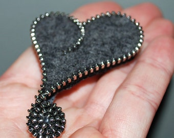 Recycled Felted Wool Sweater/Zipper Brooch/Pin- Gray Asymmetrical Heart with Silver Zipper