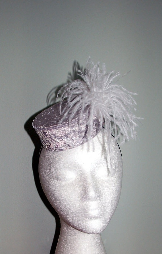 Mini Pillbox Fascinator- Silver Crushed Velvet and White Ostrich Feather and Rhinestone