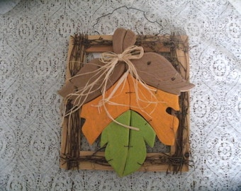 Leaf wall hanging primitive harves t nature art door welcome sign