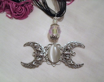 Triple Moon Goddess Necklace wiccan necklace pagan necklace wicca necklace goddess jewelry witch witchcraft magic handfasting wiccan jewelry