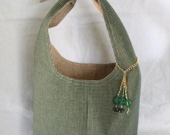 Green And Tan Plaid Handbag With Charm, gypsy clothing boho clothing hippie clothing bohemian hipster victorian boho chic purse
