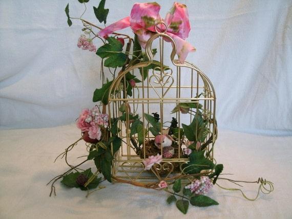 Birdcage Floral Arrangement, cottage chic mothers day wedding home decor centerpiece table decoration gift cards