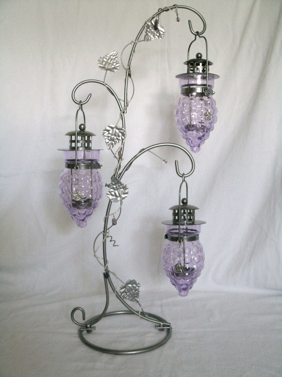 Reserved For SanMonet Wiccan Decor Grape Design Pentacle Candleholder, magical metaphysical mystic occult goth witch pagan witchcraft