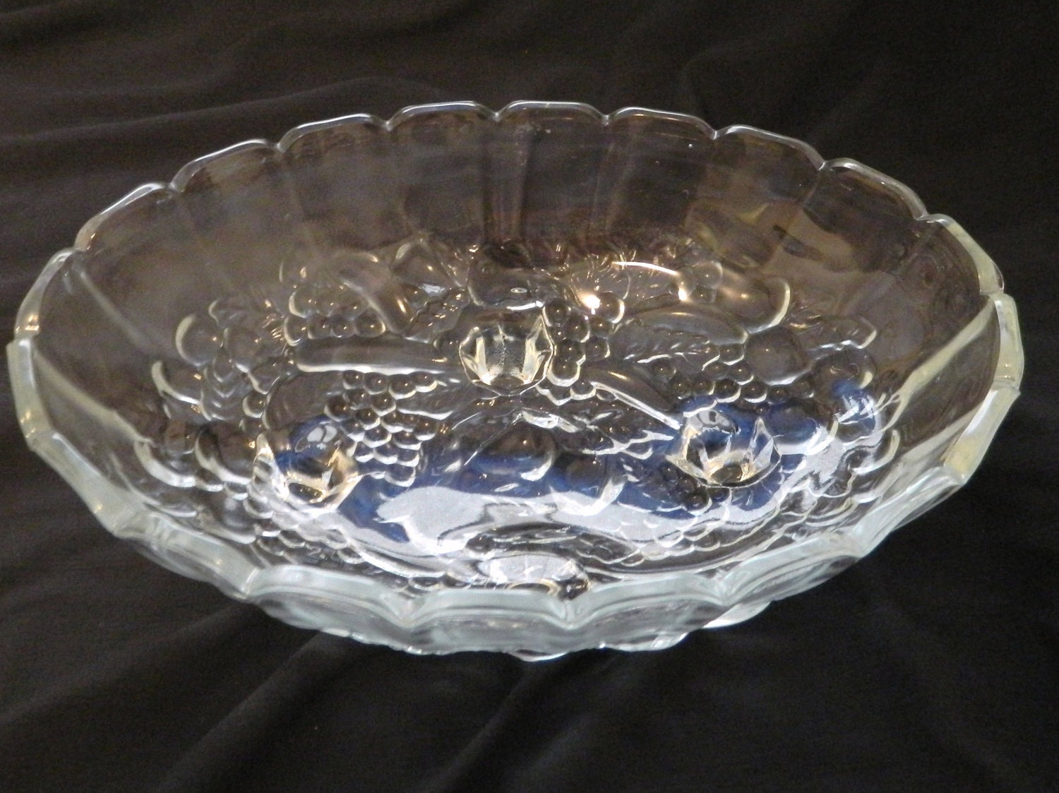 Indiana glass clear oval fruit centerpiece bowl garland