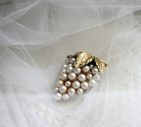Vintage Grape Pearl Cluster Pin