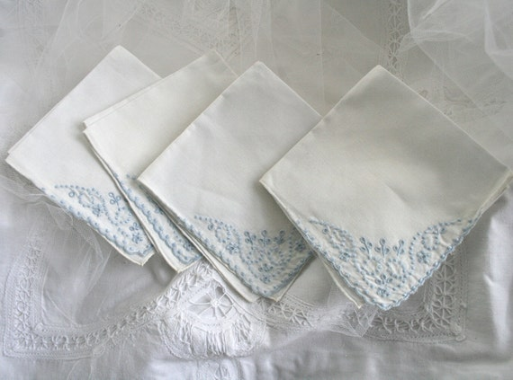 Beautiful and Delicate: Set of Four Vintage Cocktail Napkins