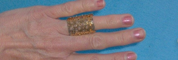 WIDE Gold Tone Ring Size 5