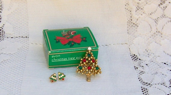 Vintage 1989 Christmas Tree Avon Pin Brooch And Pierced