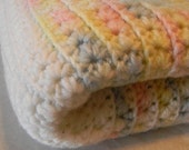 Baby Blanket Crochet in Pink, Blue, Yellow and White.