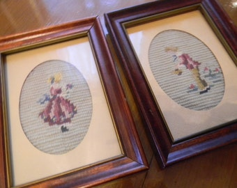 Needlepoint French Girl and Boy Pair Vintage Framed Needlecraft ART