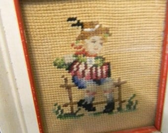 Vintage NeedlePoint Wall Hanging  of Boy