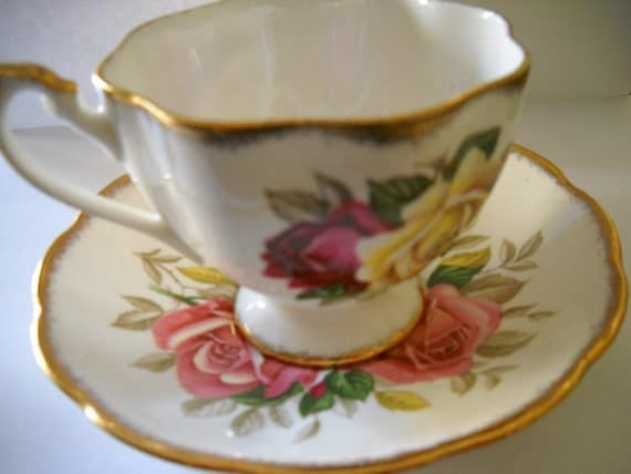 Queen Anne Lady Sylvia Cup and Sauce Tea Set  of England 1940s