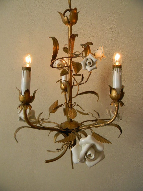 Italian Tole Chandelier With White Porcelain Roses 1940s