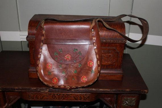 Leather Handbag Handmade Tooled Leather Floral Design Vintage