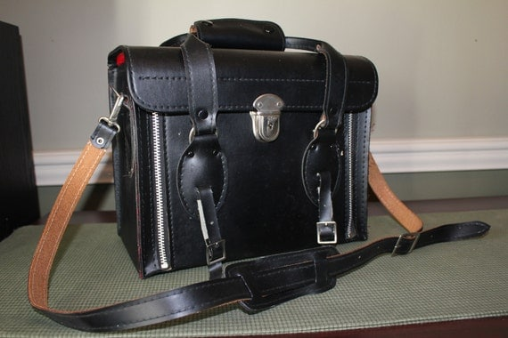 Camera Case Black Leather 1960 with Lock and  Key