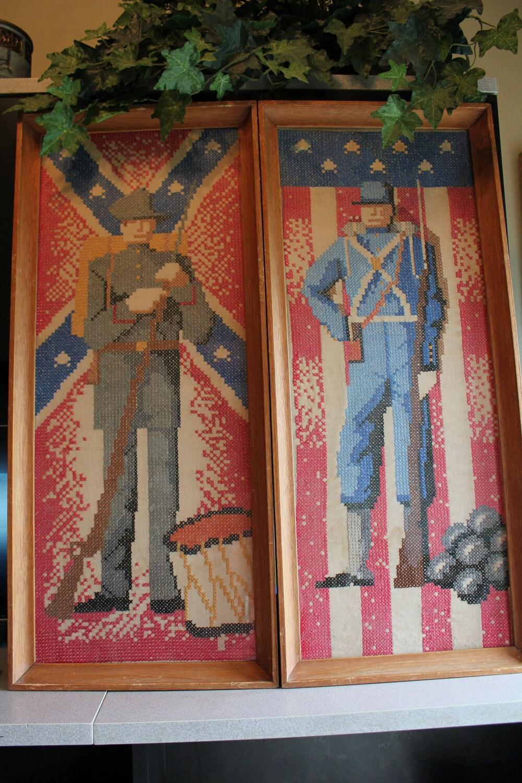 Civil War Wall Art Cross Stitch Wall Hanging Wood Frame Pair