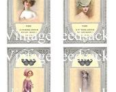 Digital Download Vintage Silver Framed Victorian Ladies Digital Collage Sheet No 219