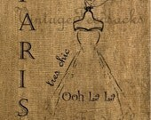 Vintage Chic Paris Dress Printable Iron on Transfer Digital Download No 227