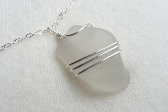 White Frosty Beach Glass Necklace - Sea Glass Pendant - Silver Necklace
