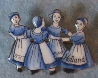 Dutch Girl Brooch.Antique Holland Enamel And Brass  Dutch Girls Dancing In A Circle Brooch