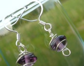 Purple Amethyst with Wire Spiral Dangle Earrings