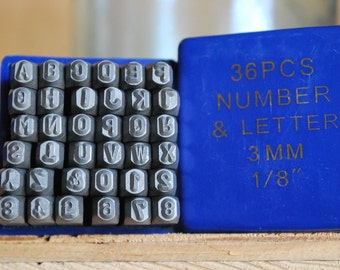 Economy  1/8 inch Letters and Number Set- 3 MM-Great Inexpensive Tool for Your Shop and Stamping Needs