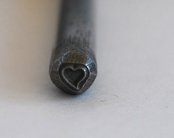 Tiny Whimsical Heart Metal Design Stamp- Approx. 3 mm. Metal Stamping Supplies for Personalized Jewelry