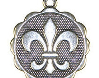 "Fleur de Lis Round Charm 19 x 22 mm. About 7/8 "". Antique Silver Finish-You Get 1-Darling to add to your Jewelry-qty. 1"