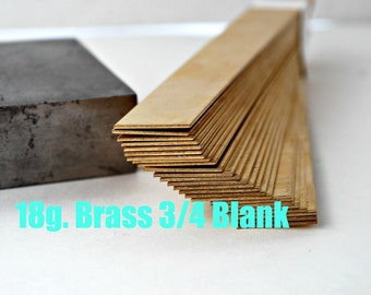 Brass Blank Bracelet Cuff Stamping Blanks- 18g.-3/4 in. x 6 in. Easy to work with- Quantity 3-Use alone or rivet