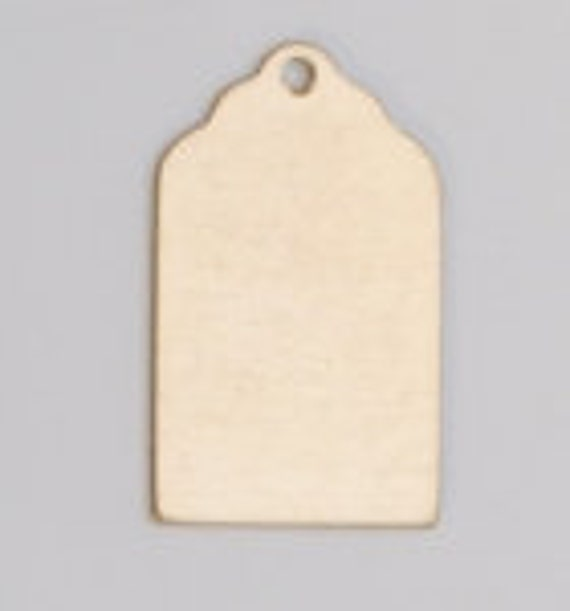 """Luggage Tag Brass with hole- 24ga- 13/16"""" x 1/2""""  PK/6--Great for your Jewelry Stamping Needs-Stamping Blanks for Personalized Jewelry"""